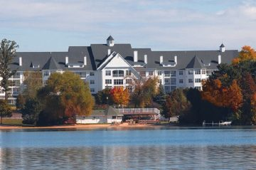 Wide shot of the Elkhart Lake and Osthoff Resort on the far shore