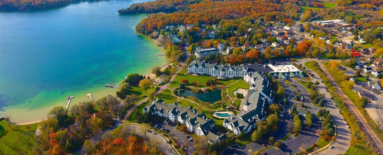 Aerial view of Osthoff in the fall