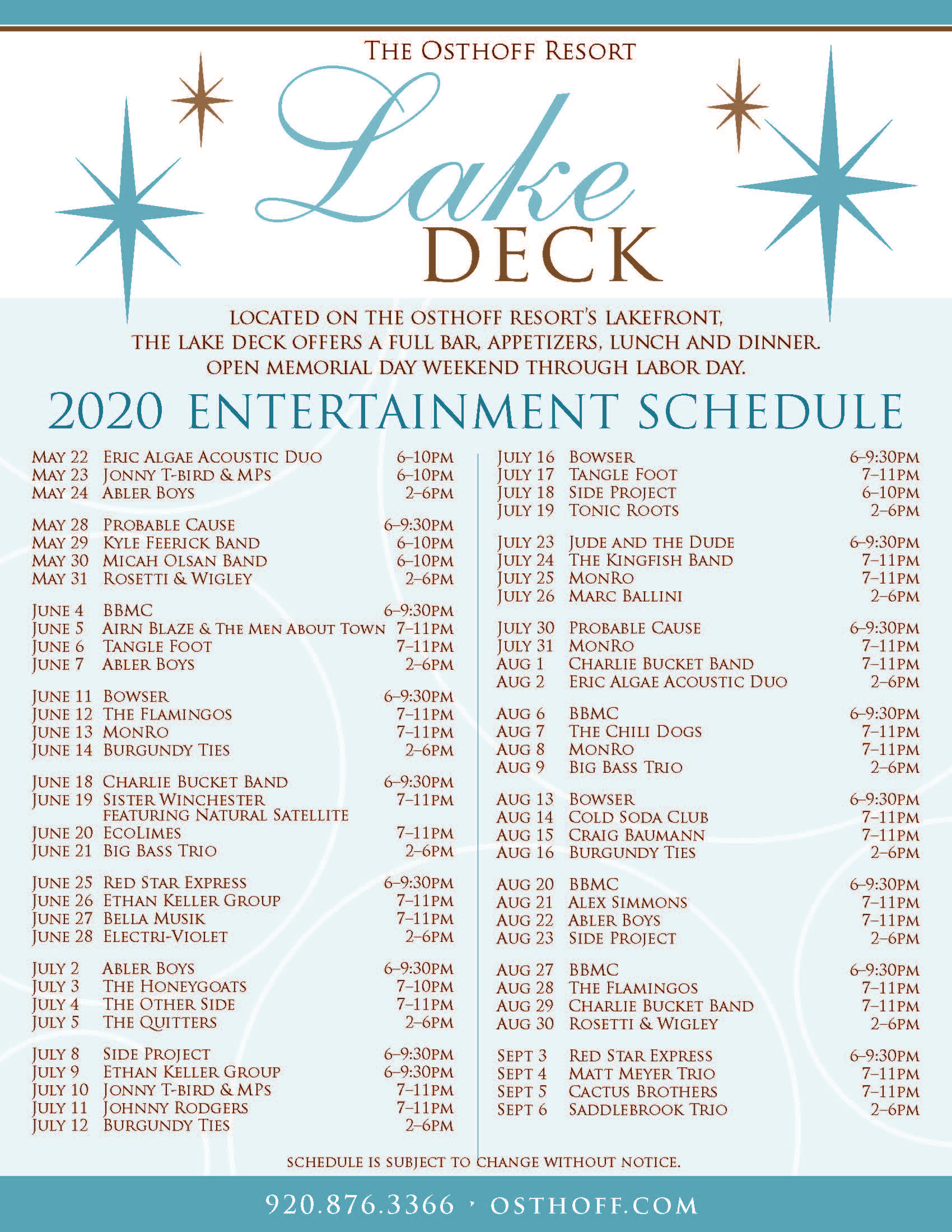 2020 Lake Deck Schedule