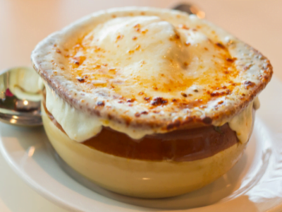 French onion soup at Concourse Restaurant