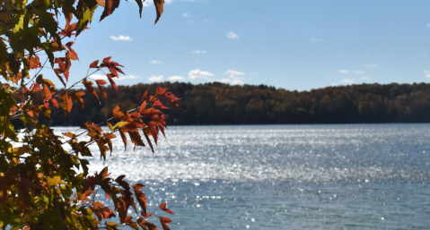 View of the lake in October, one of the best times to visit Elkhart Lake