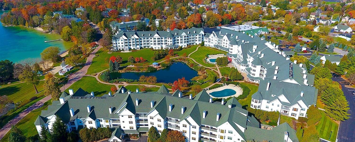Osthoff Resort Aerial View in the fall
